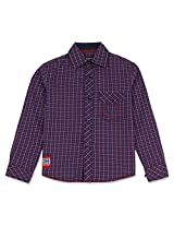 Dark Checked Boys Full Sleeve Shirt Violet