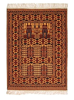 Roubini Afghan Fine Wool Rug With Silk Fringe, Multi, 5' 9