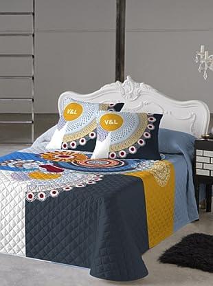 V&L Sueños Colcha Bouti Chantilly (Blanco / Azul / Amarillo)