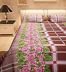 COMUTER CHEK AND FLOWER FULL PRINT bedsheet by Abhinav Prints Set of 3 Pcs (1 Double Bedsheet,2 Pillow Cover )