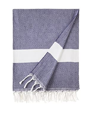 Nine Space Herringbone-Weave Fouta Towel (Blue)