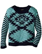My Michelle Big Girls' Sweater with Diamond Front Pattern and Stripe Sleeves, Aqua, Small