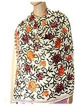 Indian Fashion Guru  White  gift  woolen stole  stoles  Flower design  Embroidery stole  shawl