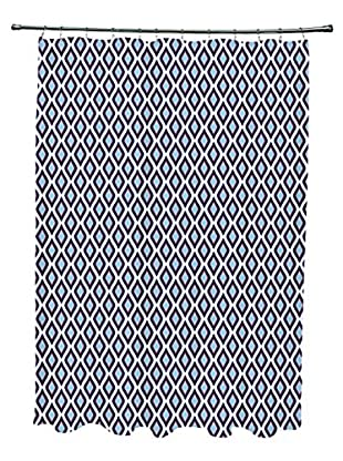 e by design Bird's Eye Shower Curtain, Blue/White/Red
