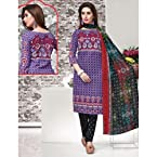 Crepe purple designer printed unstiched suit with dupatta PF90332Salwar Kameez