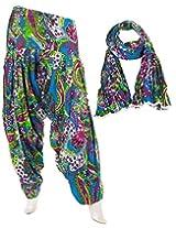 eSTYLe Aquamarine Floral Cotton Printed Semi Patiala & Dupatta set
