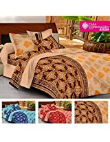 Casa Basics- Ezy Collection,144 Thread Count Standard 100% Cotton Solid,Traditional,Geometric Double Bedsheet With 2 Pillow Cover- Beige,Brown & Orange