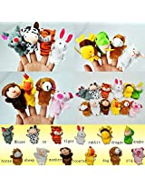 Velvet Finger Puppets, Animal Puppets set of 12 pcs with Tiger,Baby Education Puppet Play