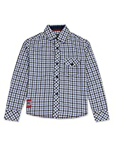 Cool Gingham Full Sleeve Boys Shirt Blue
