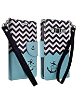 Samsung Galaxy Grand Prime LTE Case (All Carrier) - Galaxy Wireless (tm) Stylish Design Deluxe PU Leather Folio Flip Book Wallet Pouch Case Cover For Galaxy Grand Prime LTE Wallet Cover - Teal Anchor