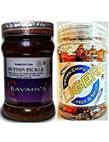 Meat Lover's Combo - CHAVADY's Mutton Pickle 300 Gms & LIGER Prawn Chips 50 Gms