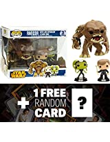 "Luke Skywalker, Slave Oola, ~6"" Rancor (Preview Exclusive): Funko Pop! X Star Wars Vinyl Bobble Head Figure W/ Stand + 1 Free Official Star Wars Trading Card Bundle [50467]"