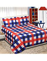 Reliable Polycotton Double Bedsheet With Pillow Covers - Queen Size, Blue