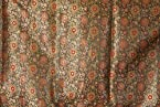 Black Banarasi Brocade Fabric with Woven Flowers - PolySilk