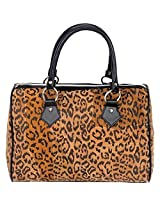 Embassy Italian Stone Design Genuine Suede Leather Leopard Print Purse