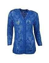 WINTER WONDERS Women's Button Down Sweater (1806_$P, Royal Blue, XXL)
