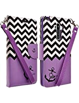 LG Stylo (Sprint, MetroPCS, T-Mobile, Boost Mobile) Case- Magnetic Leather Folio Flip Book Wallet Pouch Case Cover With Fold Up Kickstand and Detachable Wrist Strap - Purple Anchor Flip Wallet