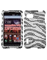 Aimo LGLS720HPCDM010NP Dazzling Diamante Bling Case for F3 LS720 - Retail Packaging - Black Zebra Skin