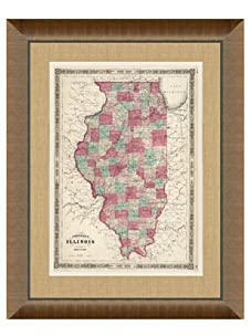"""Johnson and Ward Antique Map of Illinois, 1860's, 24"""" x 26"""""""