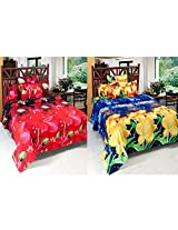 Wonder Collection 3D Printed Floral 2 Double Bedsheet with 4 Pillow covers Complementary (BUY 1 GET 1 FREE)