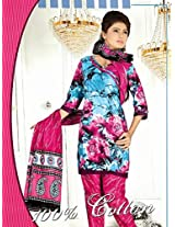 Aesthetic Aqua Blue & Pink Cotton Salwar Kameez