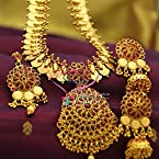 Temple Kempu Laxmi God Coin Indian Traditional Jewellery Necklace