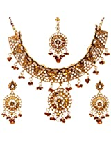 Exotic India Faux Ruby Necklace Set with Mang Tika - Copper Alloy
