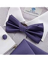 DBC3008 Dark Slateblue Checkered Wedding Polyster Pre-Tied Bow Tie Hanky Cufflinks Set by Dan Smith