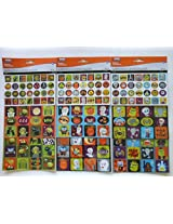 Halloween Decorative Stickers 250 Ct Shiny & Glittery Pumpkins, Ghosts, Witches, Owls