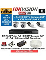HIKVISION Full HD (2MP) 4CCTV Cameras & 8Ch.Full HD DVR Kit (All Accessories)