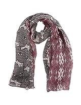 FUGEN Women's Linen Scarf (FF-2036, Maroon & Black)