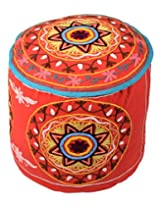 Eye-Catching Ottoman Red Cotton Floral Embroidered Pouf Cover By Rajrang