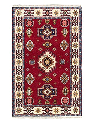 Hand-Knotted Royal Kazak Wool Rug, Cream/Dark Red, 3' 2