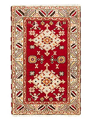 Hand-Knotted Royal Kazak Wool Rug, Ivory/Red, 3' x 4' 9