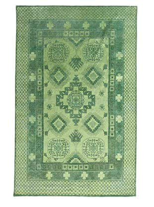 Silk Hand-Knotted Ikat Rug (Green Multi)