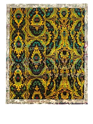 Silk Hand-Knotted Ikat Rug (Gold/Brown Multi)