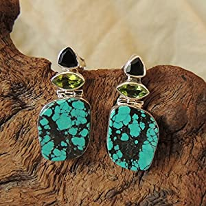 Flames of The Forest Black Onyx, Peridot and Turquoise set in Sterling Silver Earring