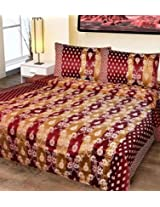 Double Bed Cover Cotton Floral Brown In Red Color
