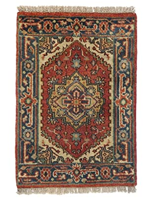 Rug Republic One Of A Kind Indo-Serapi Hand Knotted Rug, Antique Red/Multi, 2' x 2' 1