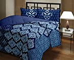 Bianca Aston Vintage Cotton Double Bedsheet with 2 Pillow Covers - Navy Blue (BED500)