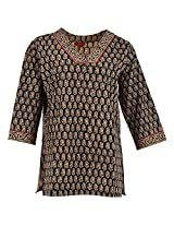 Karni Women's Cotton Brown & Black Kurti