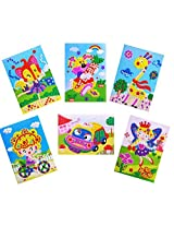 Oveelando®6in1 Mosaics Sticky Car,taxi,rabbit,fairies,fox,sweet Girl,card,sheet,pictures for Kids P