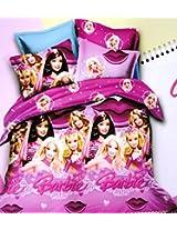 Amk Home Décor Barbie Kids Cotton Double Bedsheet With 2 Pillow Covers, Multicolor