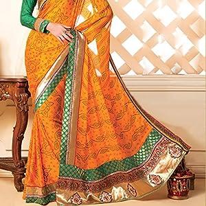 Golden border bandhani print saree
