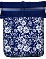 Portico New York Marvella 144 TC Cotton Bedsheet with 2 Pillow Covers - Abstract, Queen Size, Dark Blue