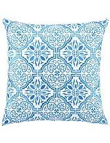 Peking Handicraft 18 by 18-Inch Down-Filled Pillow, Barcelona, Aquamarine
