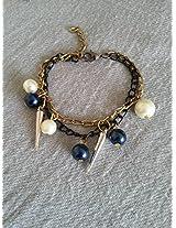Knickknack Pearl n Spike Charmed Bracelet, Blue