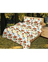 Bombay Dyeing Zinnia Cotton Double Bedsheet with 2 Pillow Covers - Orange (05561201)
