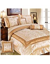 United Linens Kacey 7-Piece Queen Comforter Set, Beige