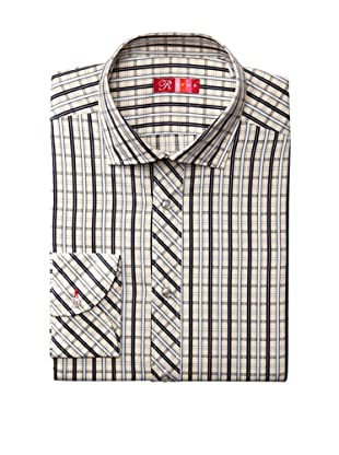 Rufus Men's Plaid Striped Shirt (Cream/Blue)
